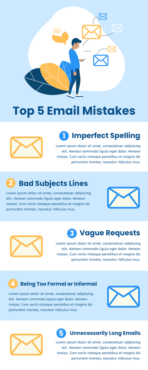 Infographic template: Top 5 Email Mistakes Infographic (Created by InfoART's Infographic maker)