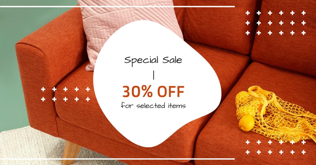 Facebook Ad template: Orange Home Furniture Sale Facebook Ad (Created by InfoART's Facebook Ad maker)