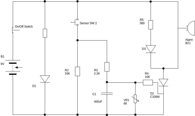 Sensor Alarm (Basic Electrical Diagram Example)
