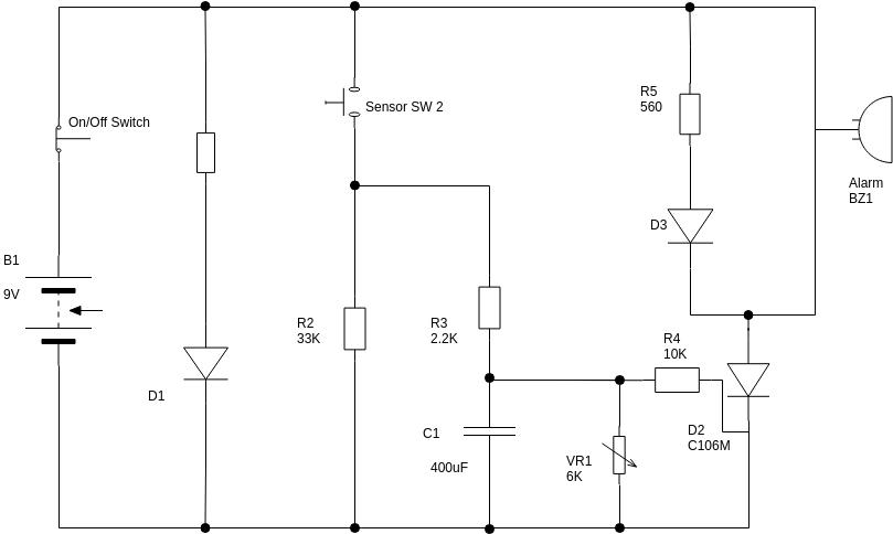 Basic Electrical Diagram template: Sensor Alarm (Created by Diagrams's Basic Electrical Diagram maker)