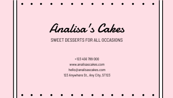 Business Card template: Pink Cute Cakes Illustration Cake Shop Business Card (Created by InfoART's Business Card maker)