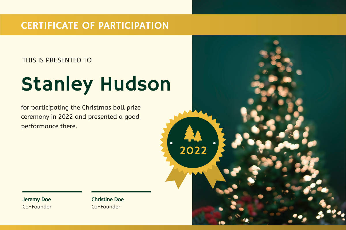 Certificate template: Green And Yellow Christmas Tree Photo Certificate (Created by InfoART's Certificate maker)