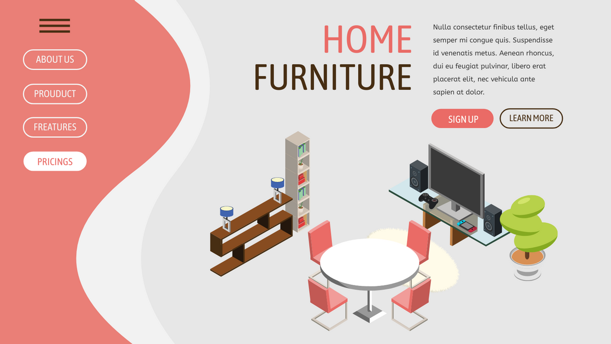 Isometric Diagram template: Contemporary Living Room (Created by InfoART's Isometric Diagram marker)