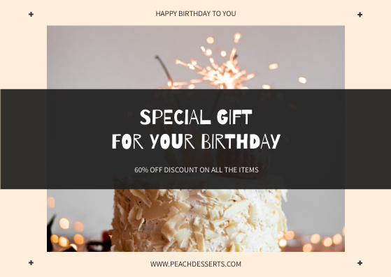 Gift Card template: Black And Pink Cakes Birthday Gift Card (Created by InfoART's Gift Card maker)