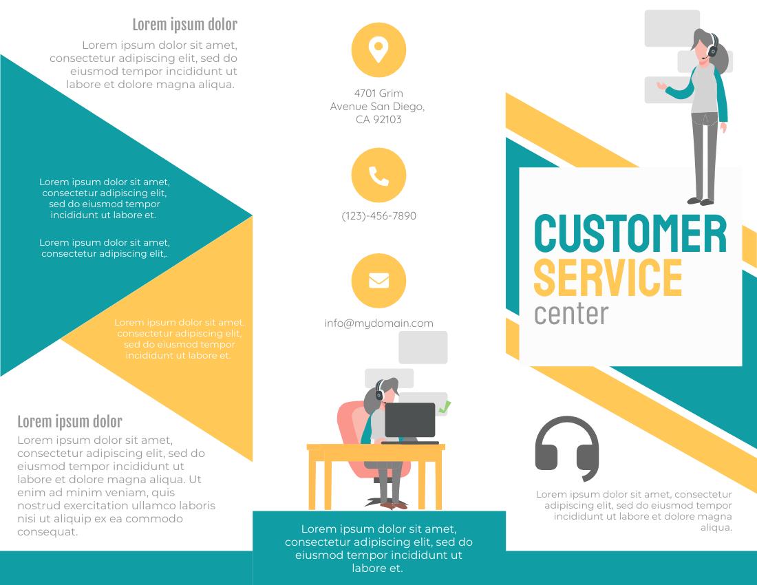 Brochure template: Customer Service Center Brochure (Created by InfoART's Brochure maker)