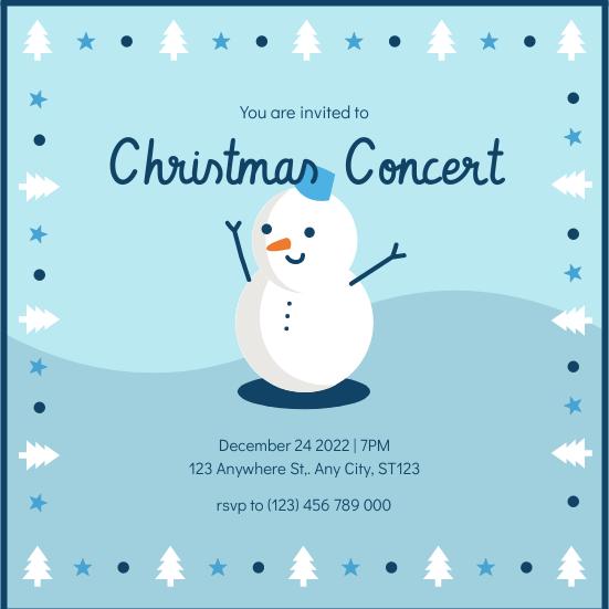 Invitation template: Blue Snowman Cartoon Christmas Concert Invitation (Created by InfoART's Invitation maker)