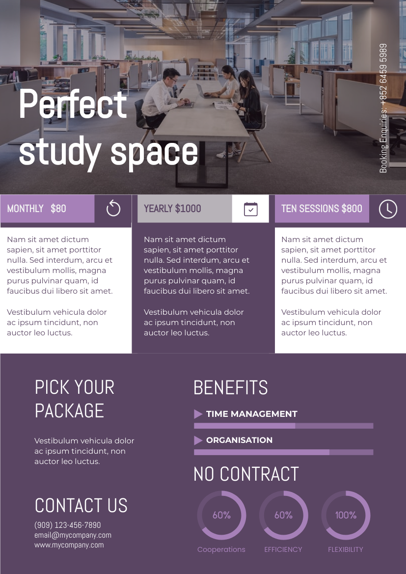 Flyer template: Study Space Informative Flyer (Created by InfoART's Flyer maker)
