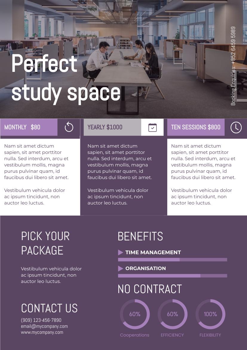 Flyer template: Violet Study Space Flyer (Created by InfoART's Flyer maker)