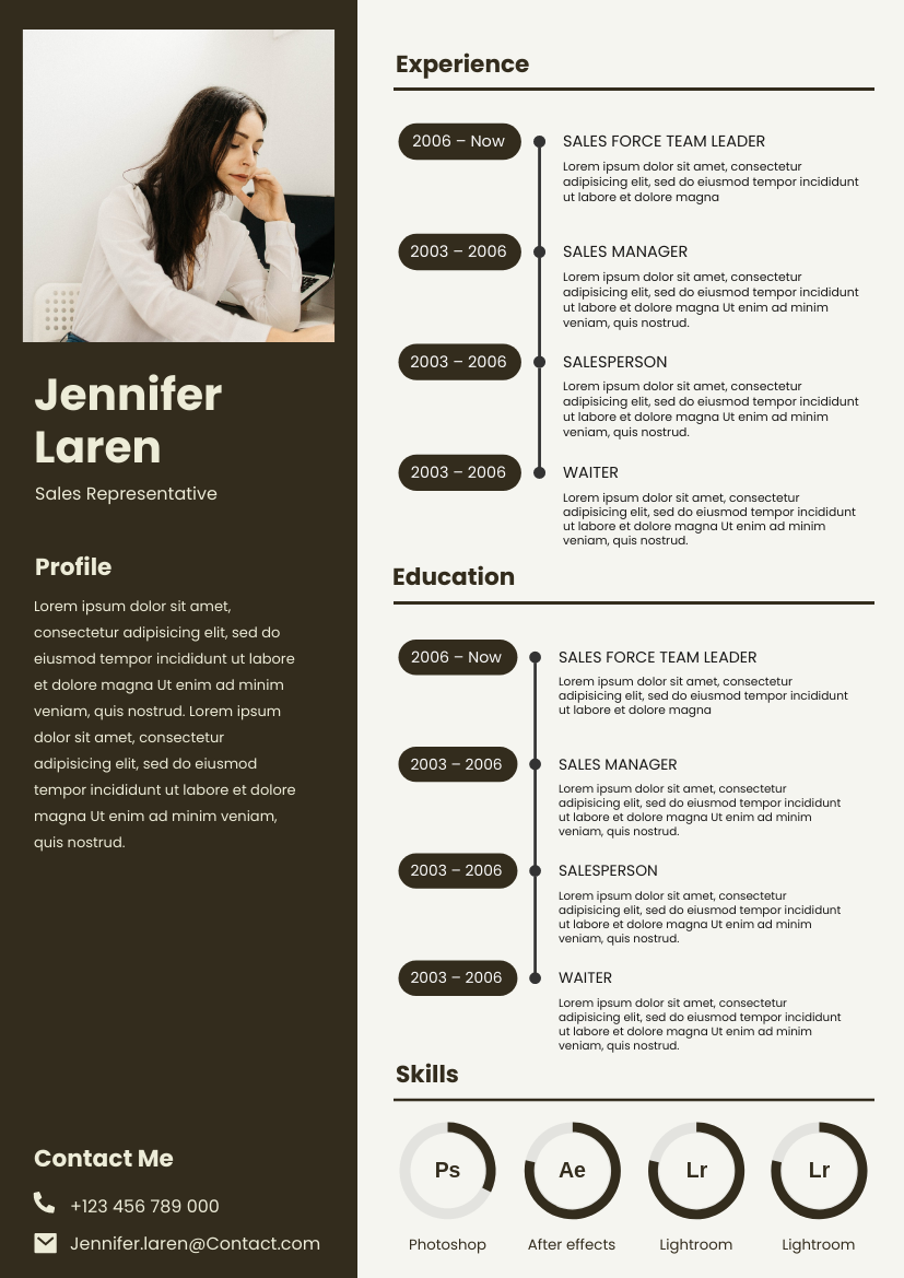 Resume template: Two Columns Brownish Resume (Created by InfoART's Resume maker)