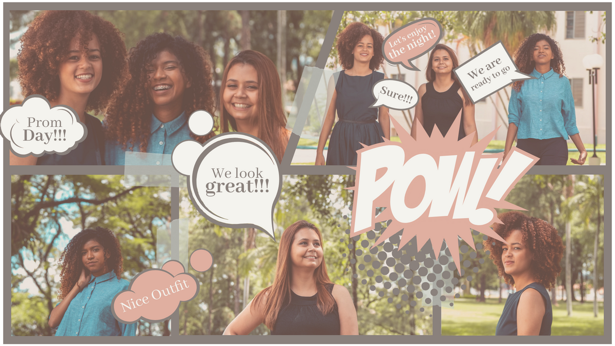 Comic Strip template: Prom Date With Besties Comic Strip (Created by Collage's Comic Strip maker)