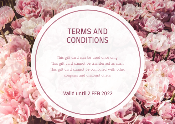 Gift Card template: Blossom Pink Floral Photo Flower Shop Gift Card (Created by InfoART's Gift Card maker)