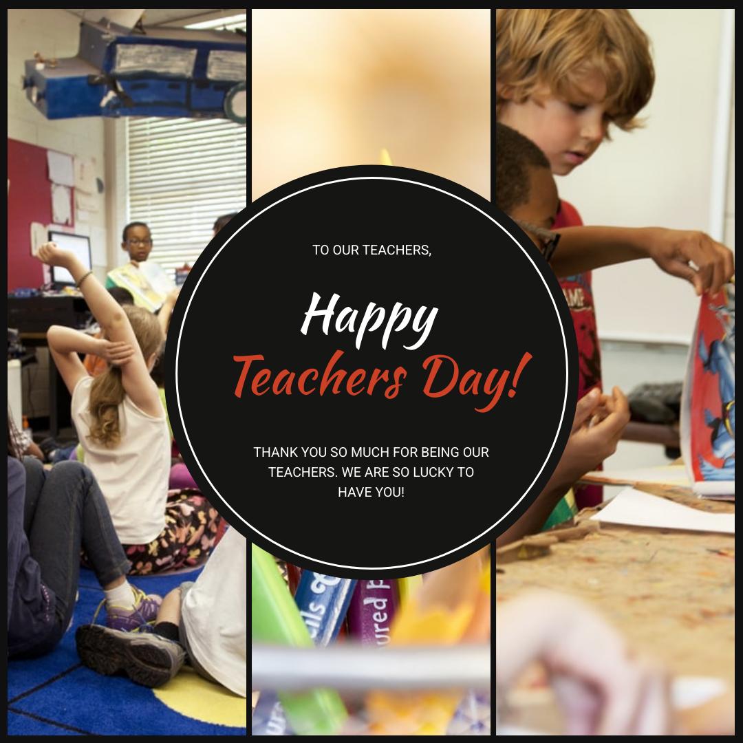Instagram Post template: Black Photo Collage Teacher's Day Instagram Post (Created by InfoART's Instagram Post maker)
