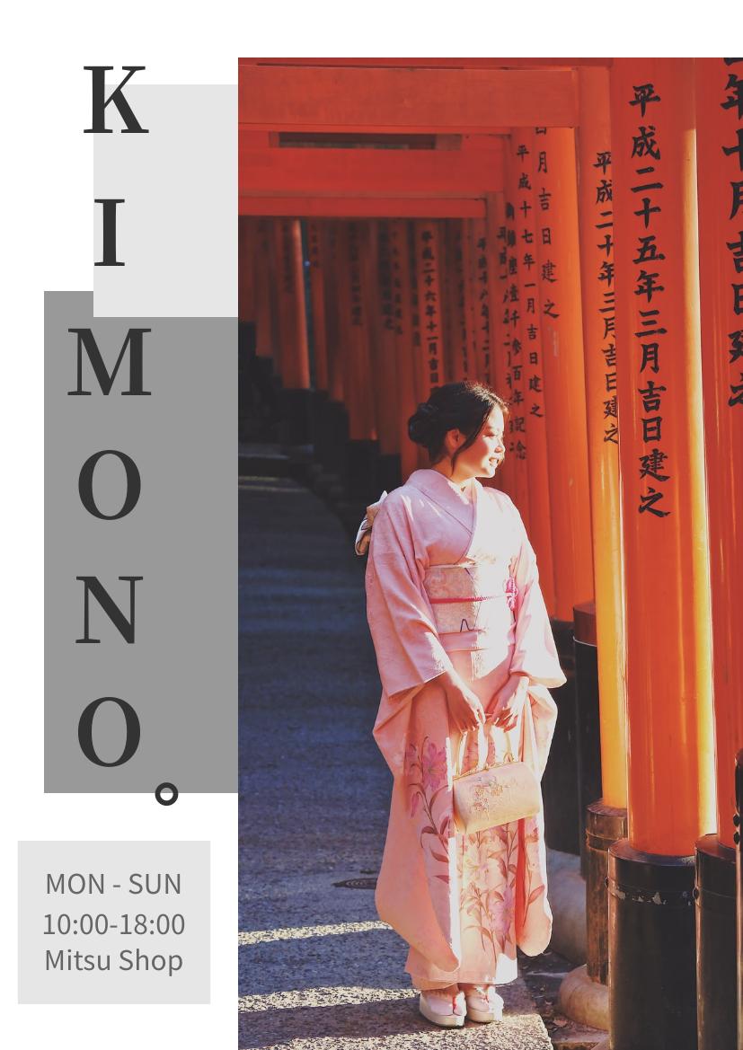 Flyer template: Kimono Dressing Rental Flyer (Created by InfoART's Flyer maker)