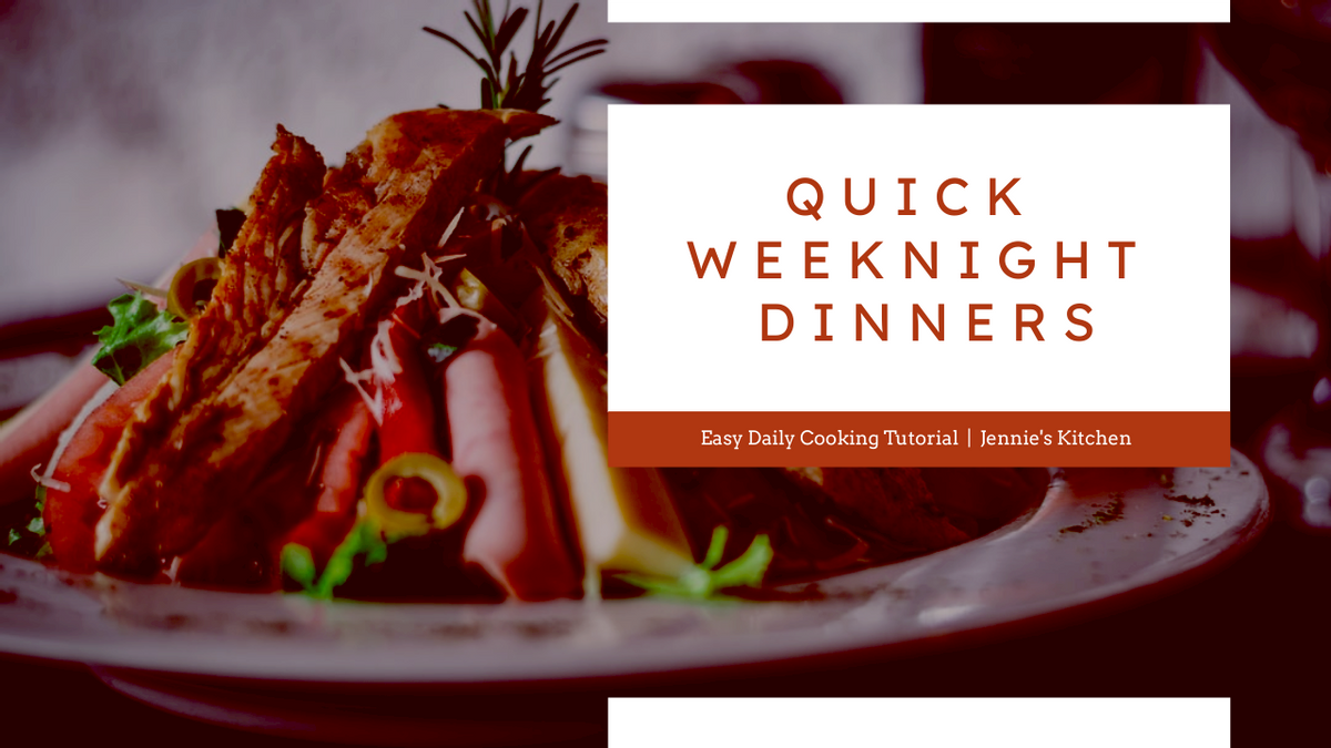 YouTube Thumbnail template: Red And White Food Photo Weeknight Dinner Recipe YouTube Thumbnail (Created by InfoART's YouTube Thumbnail maker)