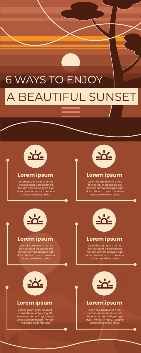 Infographic template: 6 Ways to Enjoy Sunset Infographic (Created by InfoART's Infographic maker)