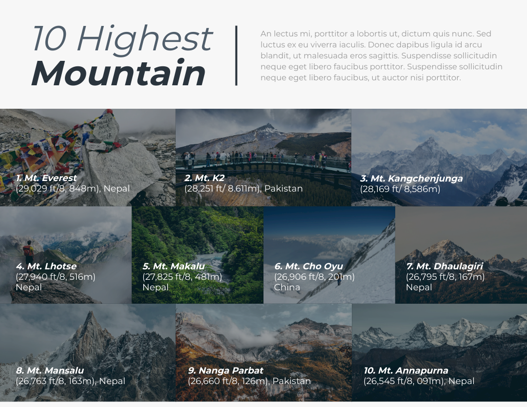 Infographic template: Ten Highest Mountain Infographic (Created by InfoART's Infographic maker)