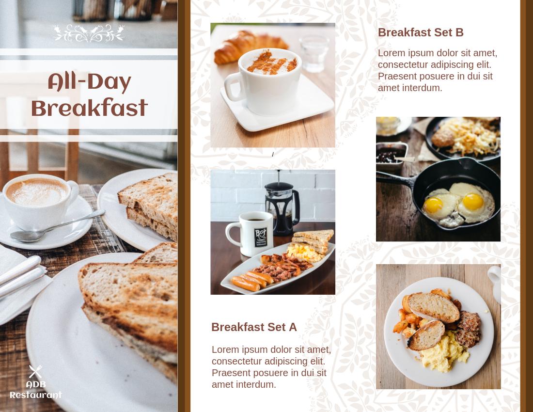Brochure template: All-Day Breakfast Brochure (Created by InfoART's Brochure marker)