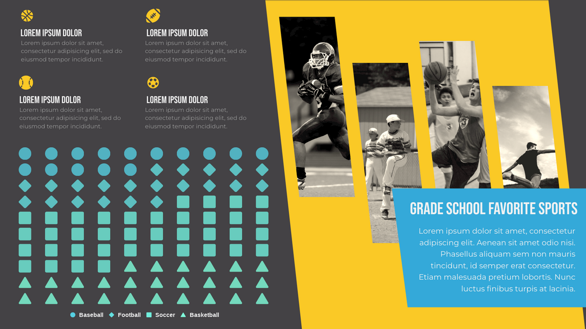 Pictorial Chart template: Grade School Favorite Sports (Created by Chart's Pictorial Chart maker)