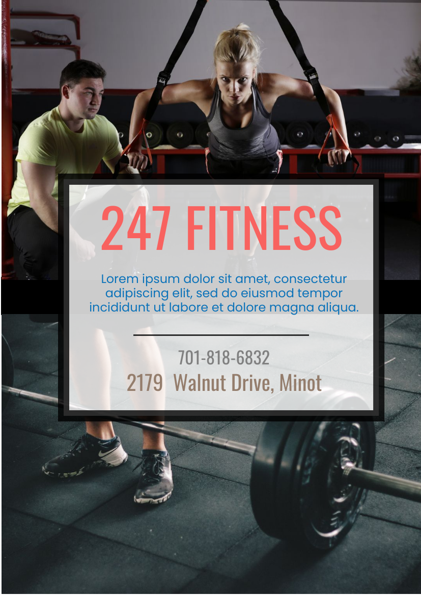 Flyer template: 247 Fitness (Created by InfoART's Flyer maker)