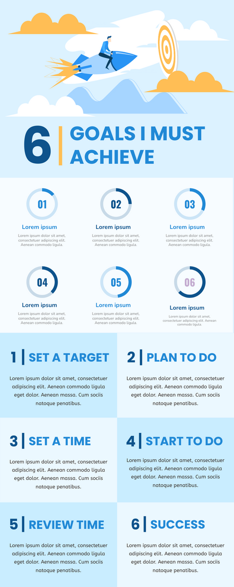 Infographic template: Infographic About 6 Goals I Must Achieve (Created by InfoART's Infographic maker)