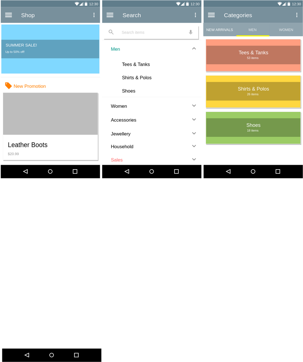 Material Design Wireframe template: Shopping App (Created by Diagrams's Material Design Wireframe maker)