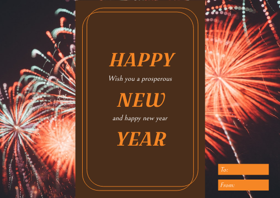 Gift Card template: Orange Brown Happy New Year Celebration Gift Card (Created by InfoART's Gift Card maker)