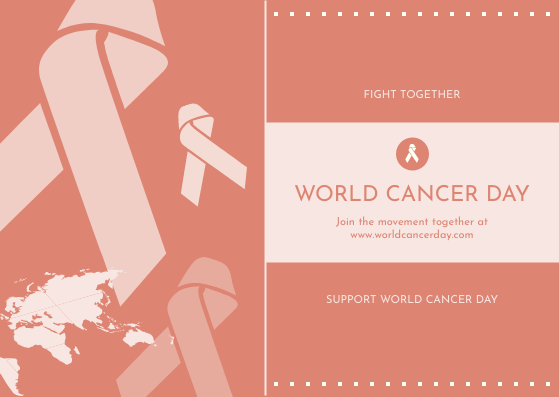 Postcard template: Pink Simple Ribbon World Cancer Day Postcard (Created by InfoART's Postcard maker)