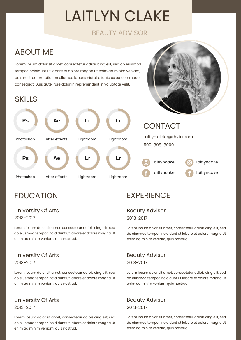 Resume template: Dusty Coral Resume (Created by InfoART's Resume maker)