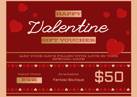 Gift Card template: Valentine Date Gift Voucher Card (Created by InfoART's Gift Card maker)