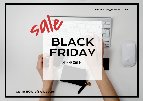 Gift Card template: Black And Red Square Black Friday Sale Gift Card (Created by InfoART's Gift Card maker)