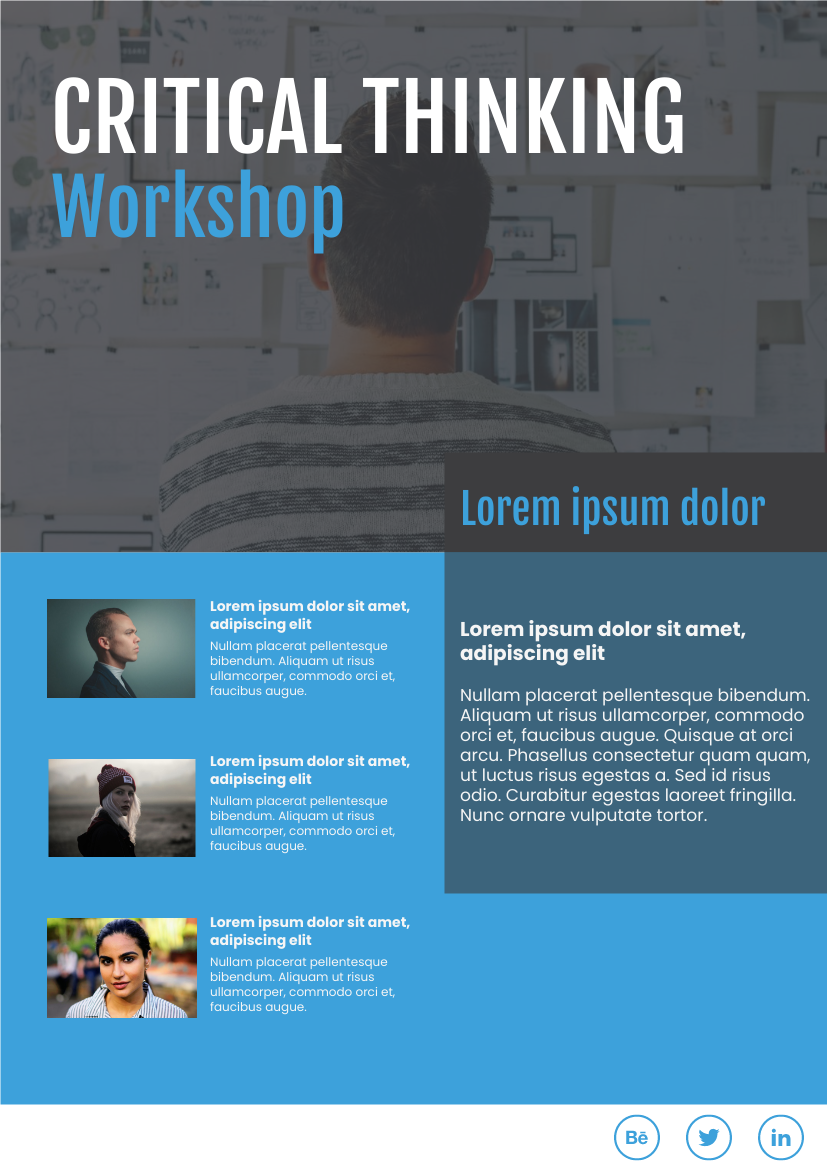Flyer template: Critical Thinking Workshop (Created by InfoART's Flyer maker)