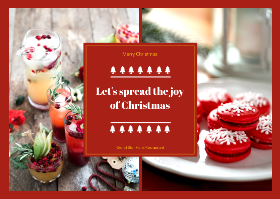 Postcard template: Red Christmas Food Photos Postcard (Created by InfoART's Postcard maker)