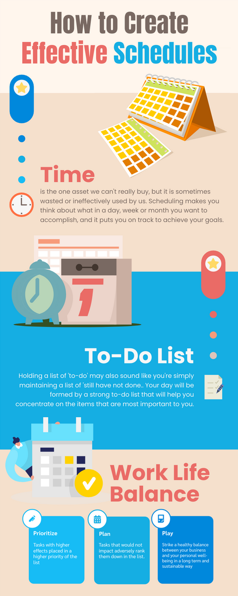 Infographic template: How to Create Effective Schedules (Created by InfoART's Infographic maker)