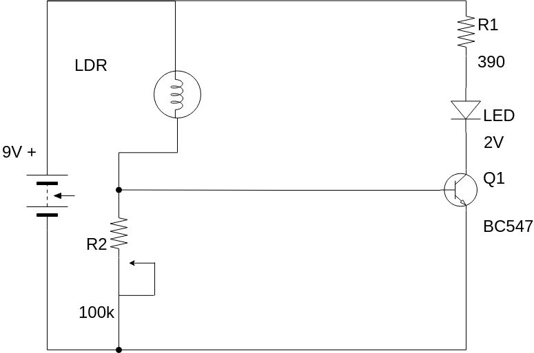 Light-Dependent Resistor (LDR) (Basic Electrical Diagram Example)