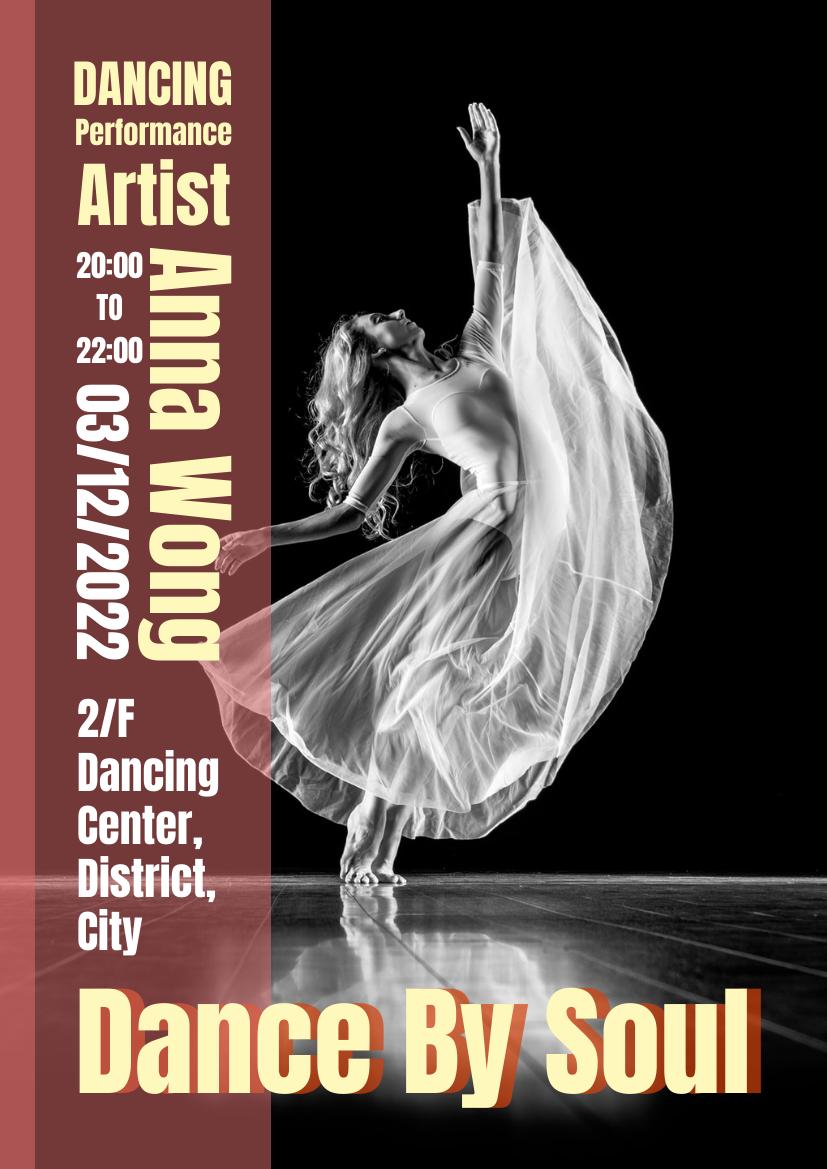 Flyer template: Dancing Performance Flyer (Created by InfoART's Flyer maker)