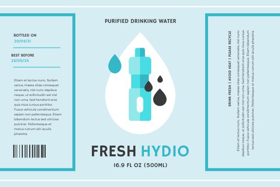 Label template: Purified Water Bottle Product Label (Created by InfoART's Label maker)