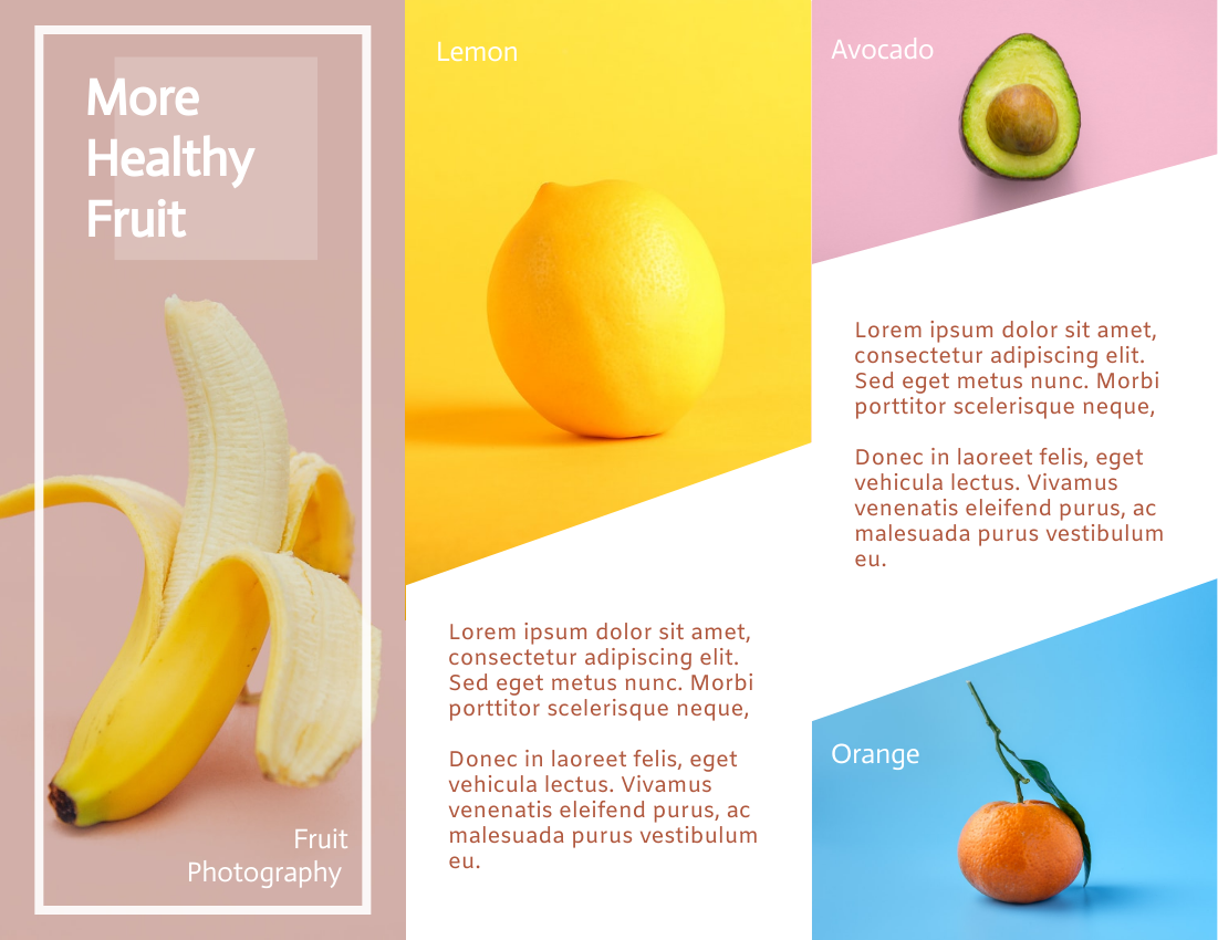 Brochure template: Brochure About Benefits of Fruits In Different Colours (Created by InfoART's Brochure maker)