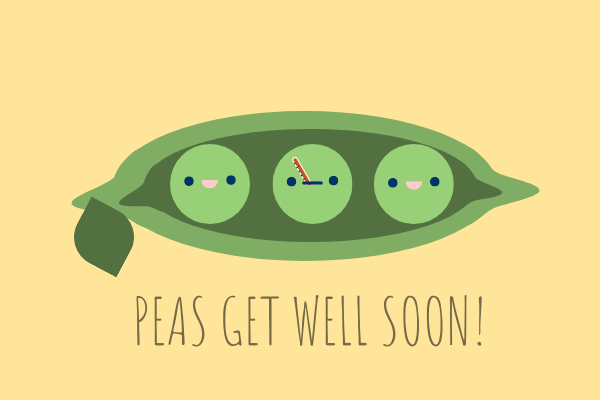 Greeting Card template: Peas Get Well Soon Card (Created by InfoART's Greeting Card maker)