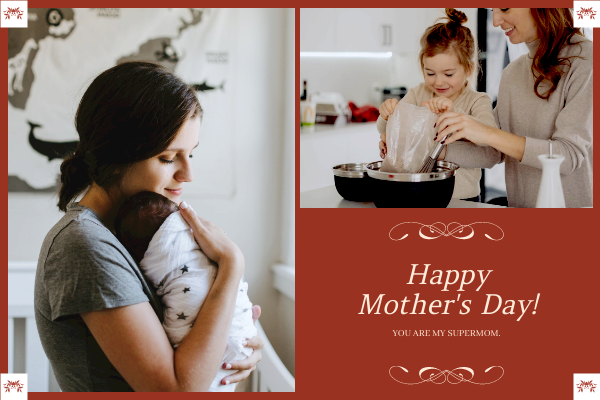 Greeting Card template: Red Photo Frame Mother's Day Greeting Card (Created by InfoART's Greeting Card maker)