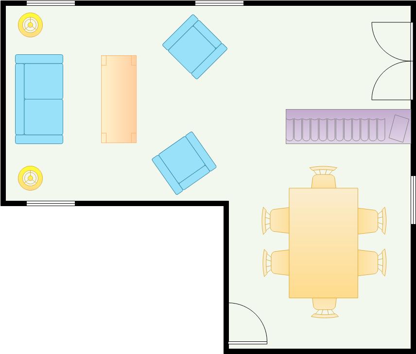 Dining Room Floor Plan template: L Shaped Dining Room (Created by Diagrams's Dining Room Floor Plan maker)