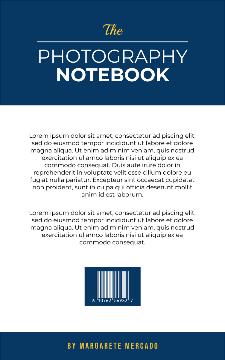 Book Cover template: The Photography Notebook Book Cover (Created by InfoART's Book Cover maker)