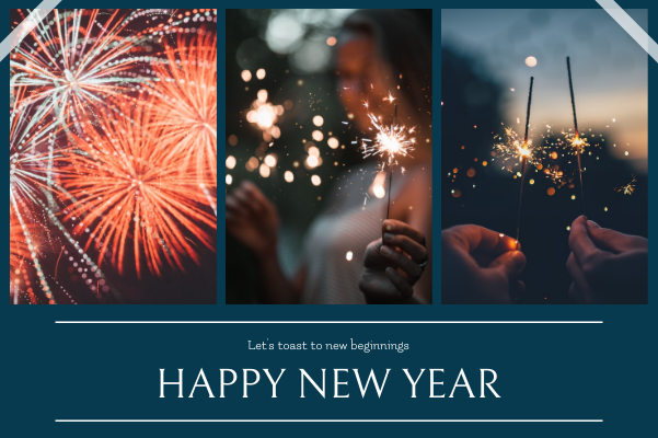 Greeting Card template: Navy Fireworks Photo Happy New Year Greeting Card (Created by InfoART's Greeting Card maker)