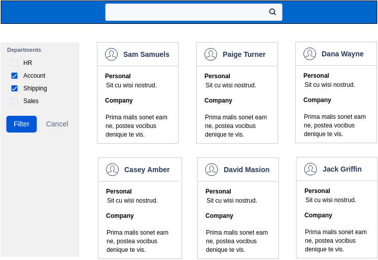 Atlassian Wireframe template: People Directory (Created by Diagrams's Atlassian Wireframe maker)