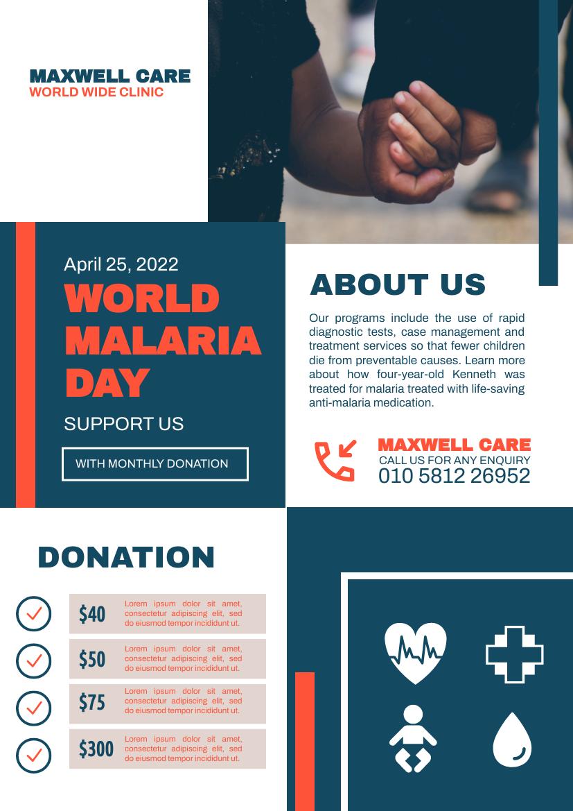 Flyer template: Malaria Donation Flyer (Created by InfoART's Flyer maker)