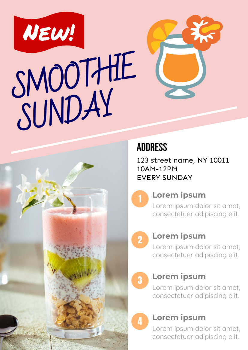Flyer template: Smoothie Sunday Flyer (Created by InfoART's Flyer maker)