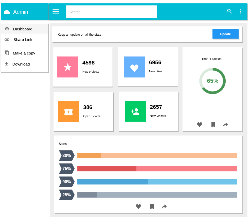 Material Design Wireframe template: Administration Dashboard (Created by Diagrams's Material Design Wireframe maker)