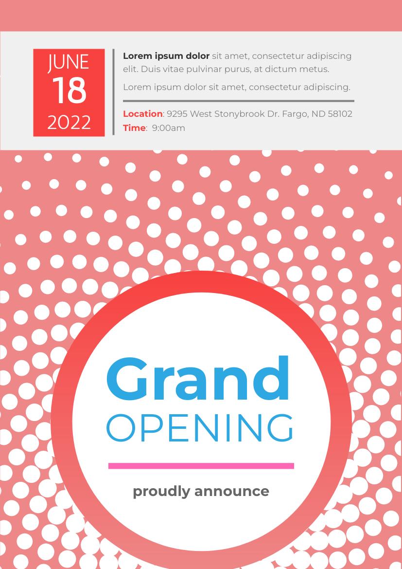Flyer template: Grand Opening 2 (Created by InfoART's Flyer maker)