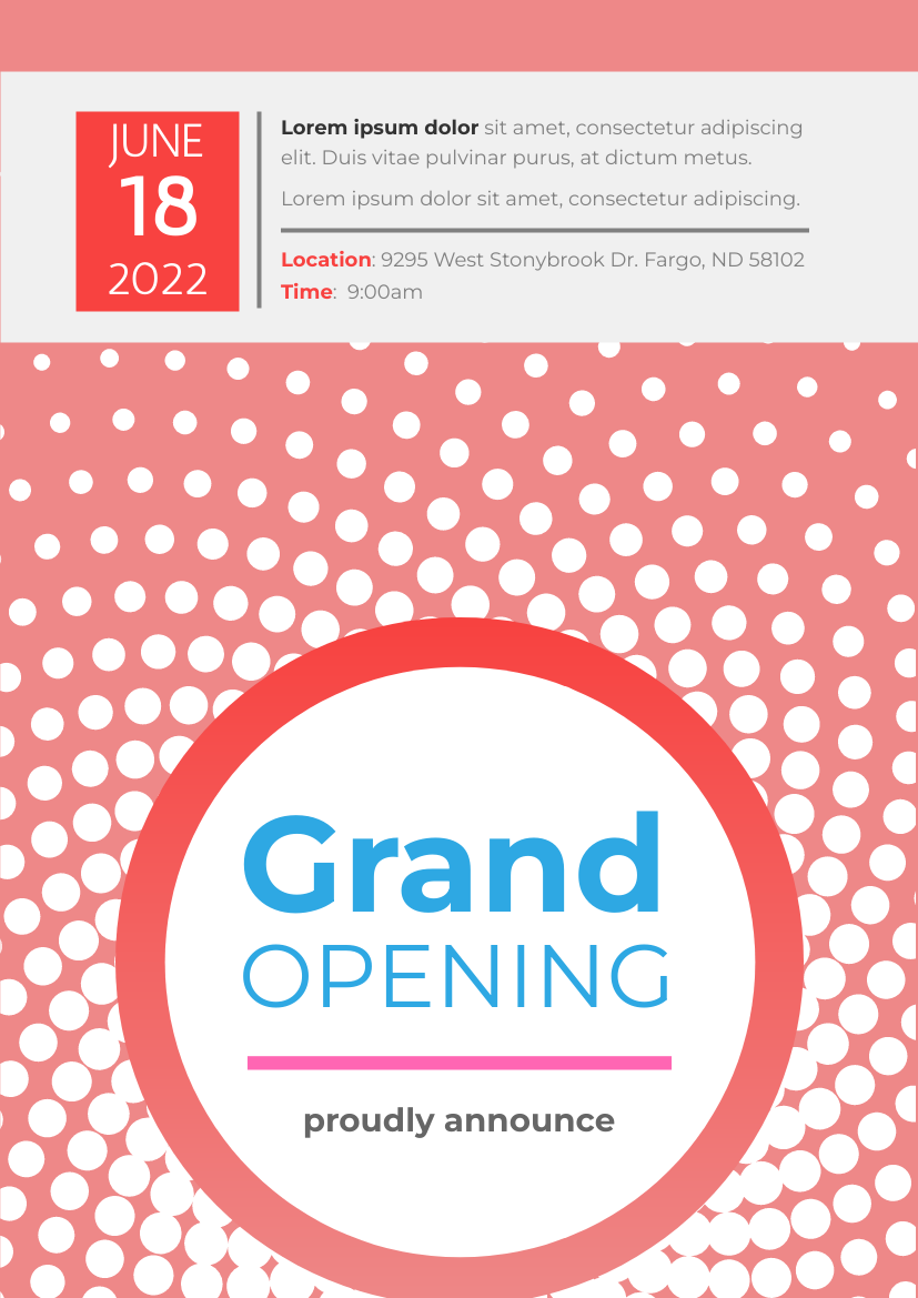 Flyer template: Modern Grand Opening Flyer (Created by InfoART's Flyer maker)