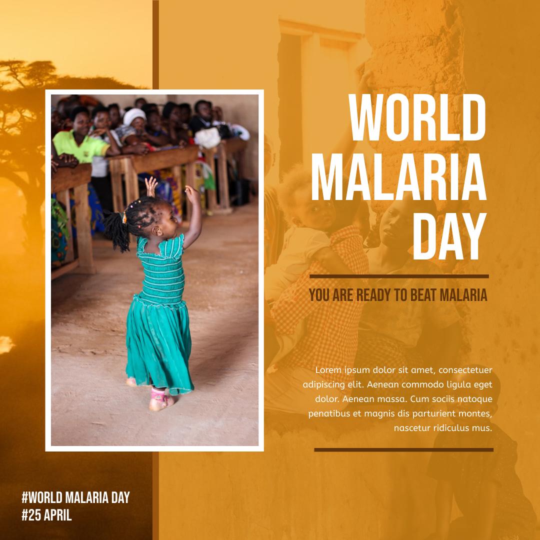 Instagram Post template: Orange Sunset World Malaria Day Instagram Post (Created by InfoART's Instagram Post maker)