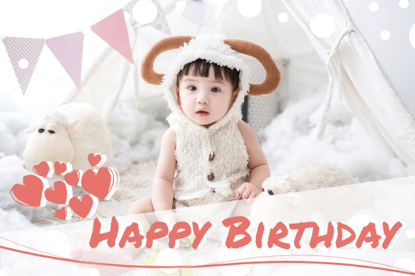 Greeting Card template: Happy Birthday To Little Baby Greeting Card (Created by InfoART's Greeting Card maker)